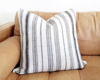 "21"" cream & black stripe hmong hemp linen pillow cover"
