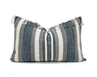 """13.25""""×20"""" fringe indigo stripe Asian textile cotton pillow cover"""