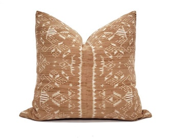 "18""×19"" rust Indonesian ikat pillow cover"