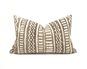 """13""""×20"""" vintage brown mudcloth pillow cover"""