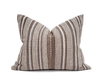 "17""×21"" brown stripe Asian textile cotton pillow cover"