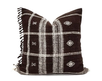 "20"" dark brown indian wool pillow cover with fringe"