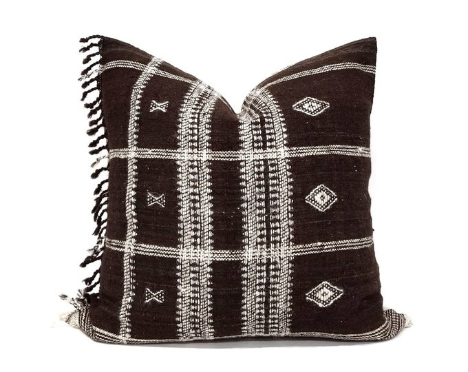 "Featured listing image: 20"" dark brown indian wool pillow cover with fringe"