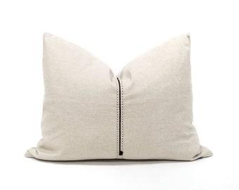 """17""""×22"""" light flax hmong hemp linen/cotton pillow cover w/ embroidery"""