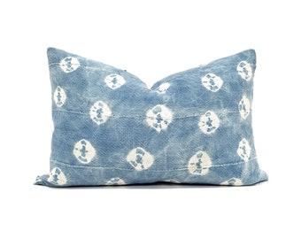 Indigo mudcloth pillow cover in various sizes