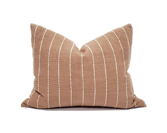 Lumbar sizes terra cotta embroidered stripe cotton hmong pillow cover