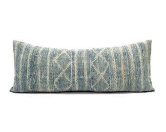 "13""×34"" vintage Indigo mudcloth bed pillow cover"