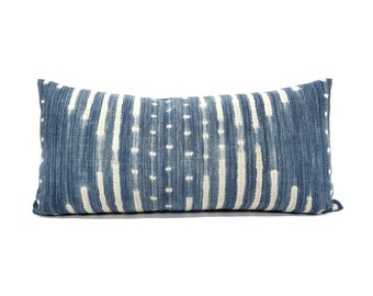 "13""×27"" indigo mudcloth long lumbar pillow cover"