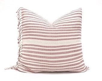 "22"" cranberry pink stripe Asian textile cotton pillow cover w/fringe"