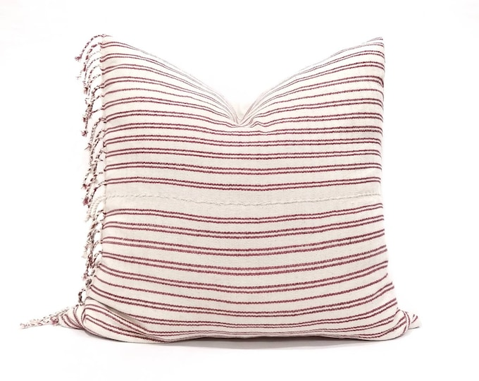 "Featured listing image: 22"" cranberry pink stripe Asian textile cotton pillow cover w/fringe"