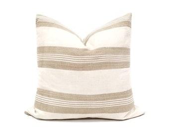 """20"""" cream w/ khaki stripe aso oke pillow cover"""