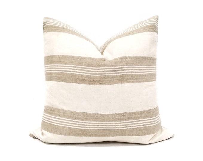 "Featured listing image: 20"" cream w/ khaki stripe aso oke pillow cover"