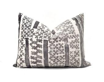"""15""""×19.75"""" grey batik hmong pillow cover"""