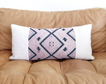"12""×25.5"" vintage pink chinese wedding blanket+ cream mudcloth pillow cover"