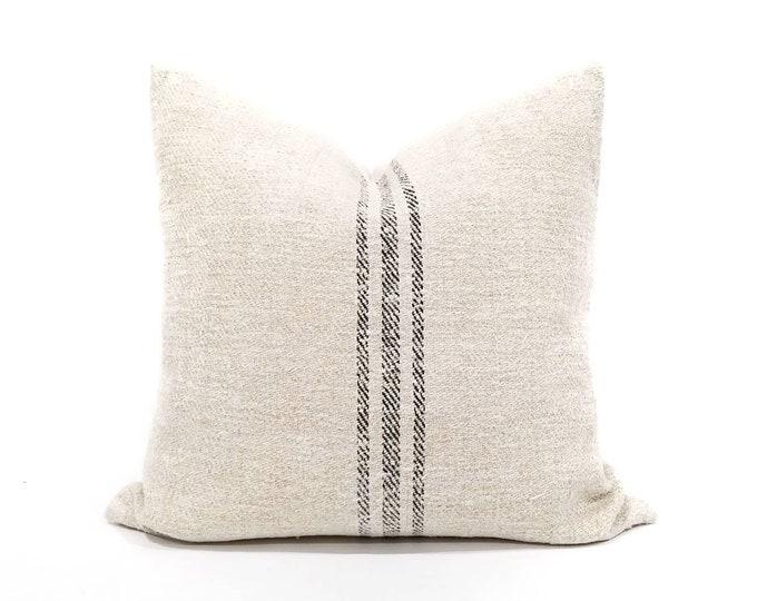 "Featured listing image: 20"" vintage grainsack black stripe pillow cover"