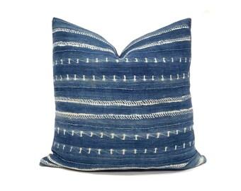 Various sizes indigo mudcloth pillow cover
