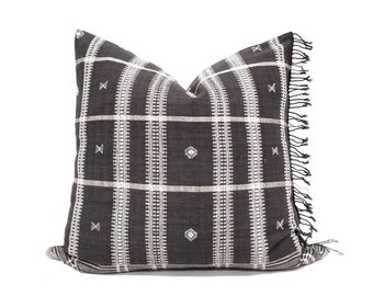 "20"" Indonesian ikat fringe cotton pillow cover"