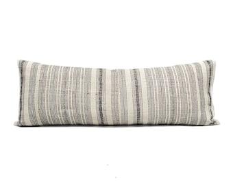 Faded black stripe hmong hemp XL lumbar pillow cover