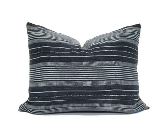Dark gray stripe african textile pillow cover in various sizes