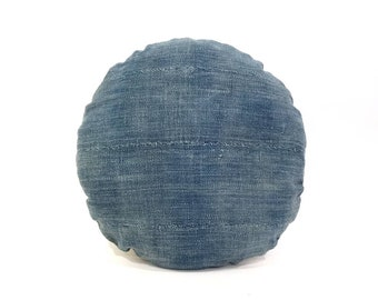 "16.5"" Round indigo mudcloth pillow cover"