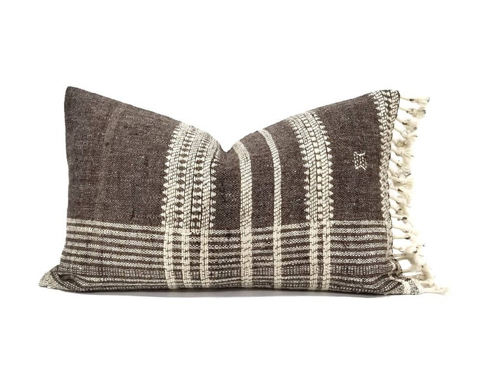 """Featured listing image: 12""""×20"""" muted grayish brown indian wool pillow cover with fringe"""