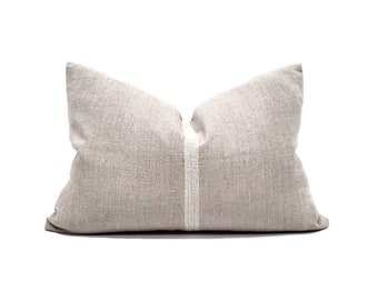 "15""×22"" greige european linen pillow cover"