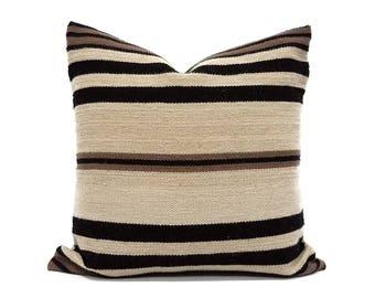 """Alpaca wool pillow cover, 18"""" alpaca wool pillow, stripe pillows"""