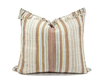 "19.5""x 21"" dusty coral stripe Asian textile cotton pillow with fringe"