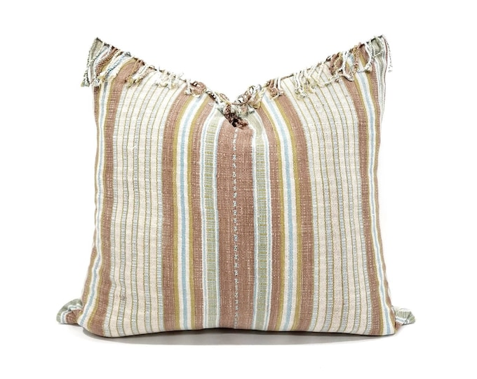 "Featured listing image: 19.5""x 21"" dusty coral stripe Asian textile cotton pillow with fringe"