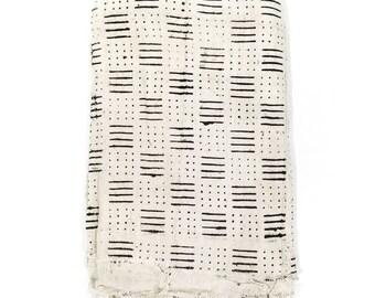 Mudcloth fabric throw, cream mudcloth, mudcloth fabric, African mudcloth