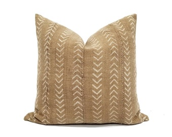 Various sizes camel/muted mustard mudcloth pillow cover