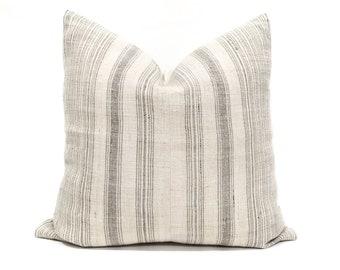 """20"""" light beige w/ grey stripe hmong hemp pillow cover"""