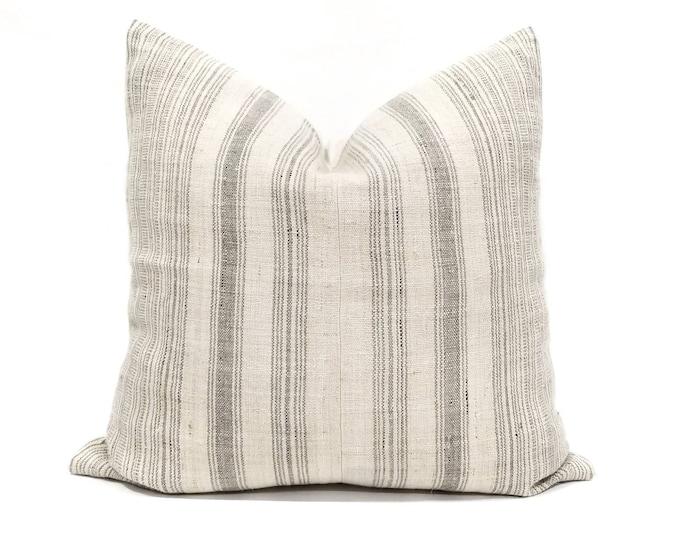 "Featured listing image: 20"" light beige w/ grey stripe hmong hemp pillow cover"