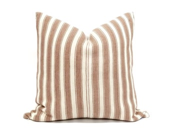 "20"" dusty rose cotton stripe hmong pillow cover"