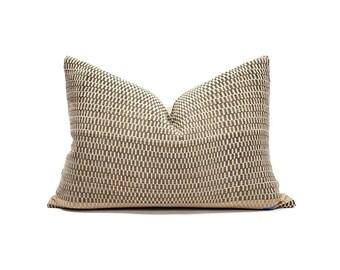 "14""×20"" brown Asian textile cotton pillow cover"