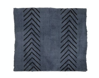 Dark blue gray mudcloth fabric/ throw