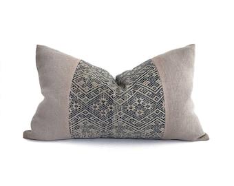 "14""×22"" muted navy  Chinese wedding blanket+ mushroom belgian linen pillow cover"