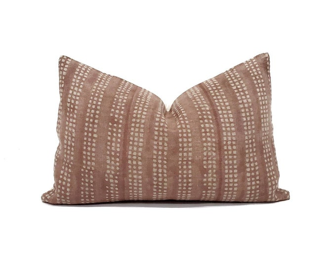 """Featured listing image: 13""""x20"""" hand block print terra cotta flax linen pillow cover"""