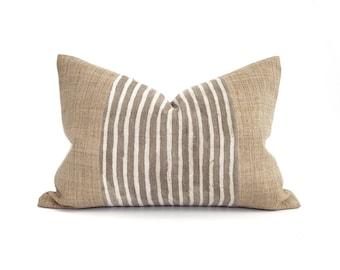 "14""×20"" camel hemp linen+ brown stripe vintage mudcloth center pillow cover"