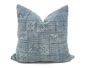 Indigo mudcloth pillows