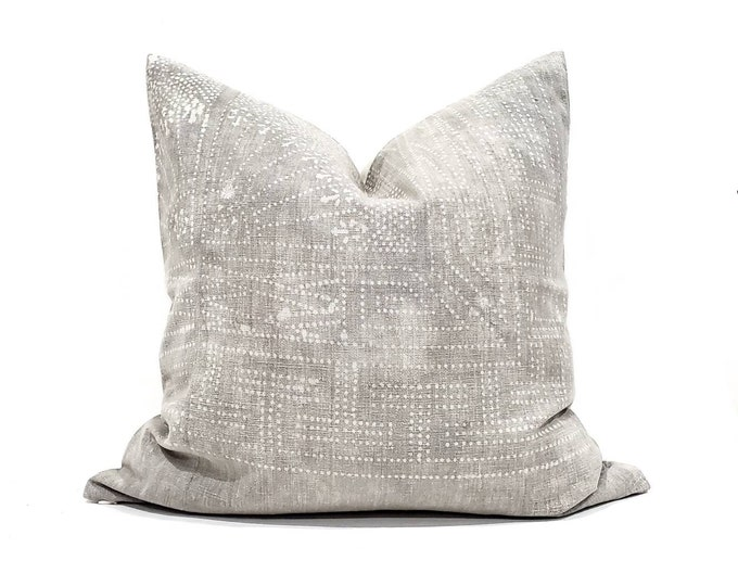 """Featured listing image: 22"""" grey Chinese batik pillow cover"""