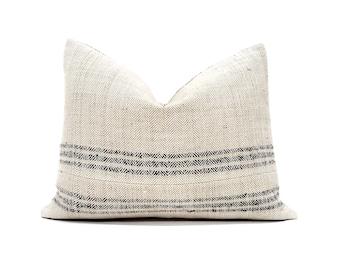 Various sizes vintage herringbone grainsack black stripe pillow cover