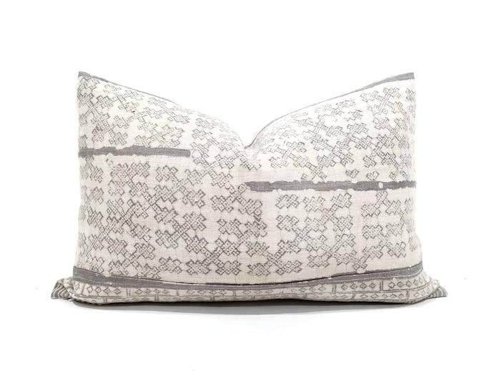 """Featured listing image: 15""""x22.75"""" Grey hmong hemp batik pillow cover"""