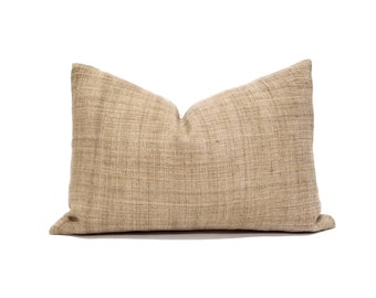 "13""×20"" camel hemp linen Hmong pillow cover"