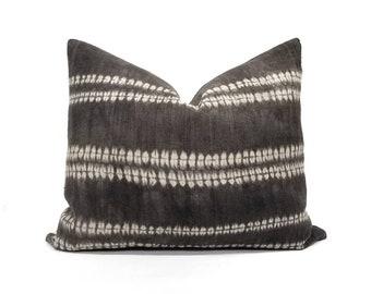 "16.5""×20"" dark brown/washed black hemp linen hmong batik bone print pillow cover"