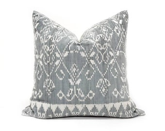 """20"""" muted blue grey ikat pillow cover"""