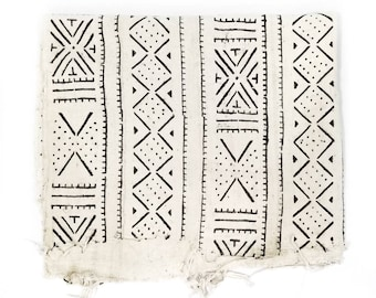 Mudcloth fabric throw, cream mudcloth, mudcloth fabric, African mudcloth