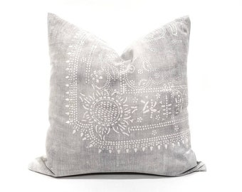 "17.5"" silver grey batik pillow cover"