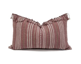 "13.5""x 21.75"" fringe on top wine/mauve stripe Asian textile cotton pillow cover"