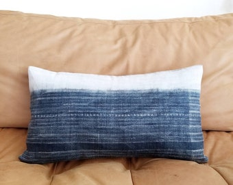 "11""×19"" Hmong dark indigo hemp pillow cover"